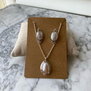 Nakai Mother of Pearl Silver Earring Necklace Set